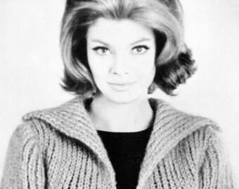 Women's 1960s Retro Topper -- Coat -- PDF KNITTING PATTERN