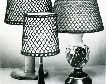 1960s Vintage Crocheted Lampshade Covers -- PDF CROCHET PATTERN