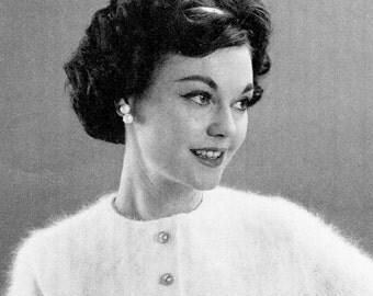 Ladies' Vintage Cropped Angora Sweater -- PDF KNITTING PATTERN