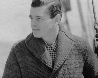Men's Vintage Shawl-collar Cardigan -- Chunky Knit -- PDF KNITTING PATTERN