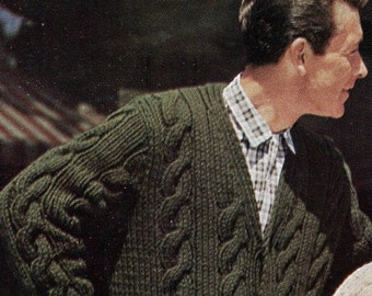 Men's Retro Chunky-Knit V-neck Cable Cardigan -- PDF KNITTING PATTERN