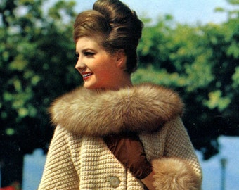 Women's 1960s Retro Knitted Coat with Purchased Fur Collar and Cuffs -- PDF KNITTING PATTERN