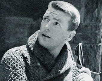 Men's 1960s Bulky Shawl Collar Pullover -- PDF KNITTING PATTERN