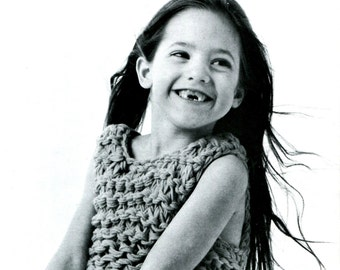 Girls' Retro Chunky-Knit Pullover Dress -- Super Quick Knit --  PDF KNITTING PATTERN