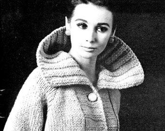 1960s Ladies' Bold-Collared Jacket with Broad Front Placket -- PDF KNITTING PATTERN