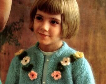 Girl's Mohair Cardigan with Flower Trim -- PDF KNITTING PATTERN