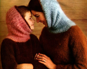 1960s Mohair Pullover with Deep Cowl -- Women, Girls -- PDF KNITTING PATTERN
