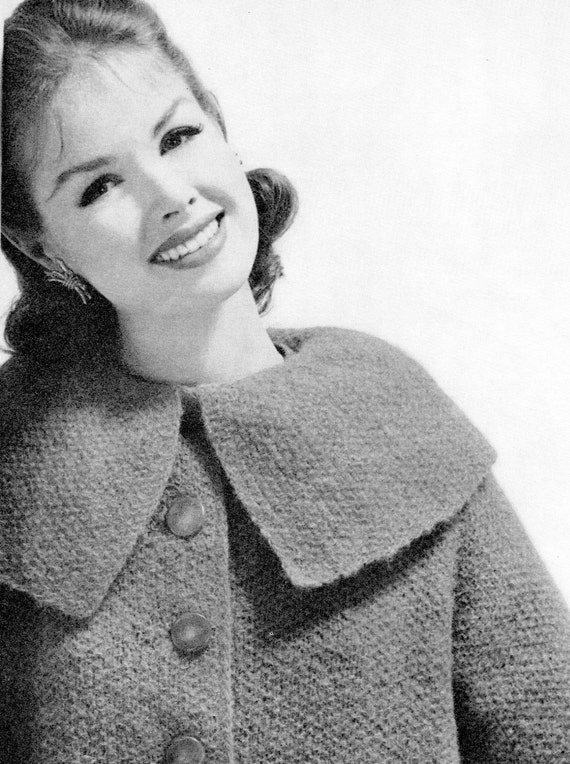 Women's 1960s Short Mohair Coat with Large Collar -- PDF KNITTING PATTERN