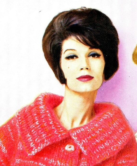 Ladies' 1960s Retro Big-Collar Mohair Cardigan with Three-Quarter Sleeves -- KNITTING PATTERN