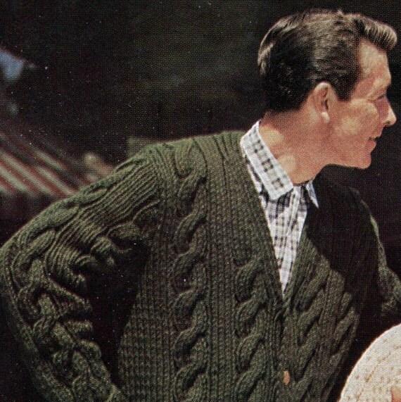 Knitting V Neck Neckband : Items similar to men s retro chunky knit v neck cable