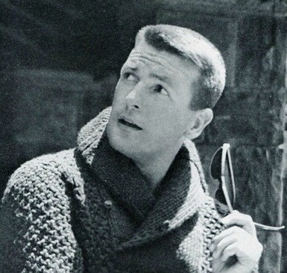 Knitting Pattern For Mens Sweater With Collar : Mens 1960s Bulky Shawl Collar Pullover PDF KNITTING