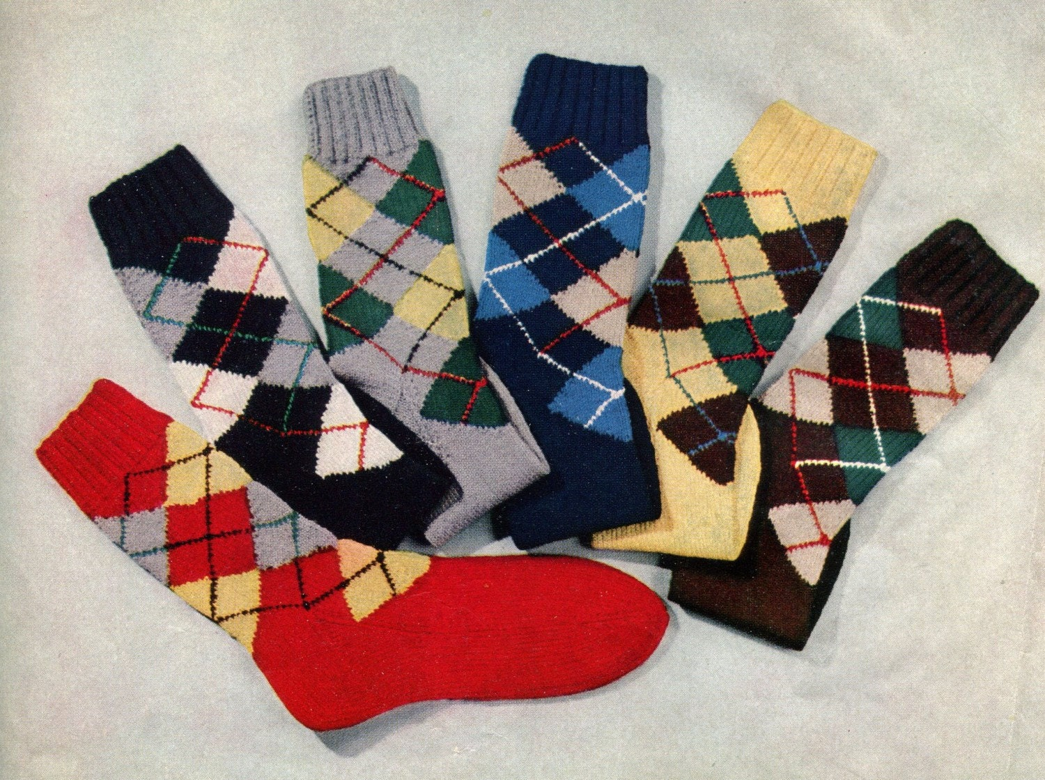 1950s vintage argyle socks pdf knitting pattern zoom bankloansurffo Image collections