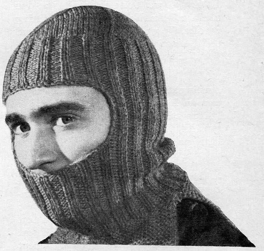 1950s Vintage Knitted Helmet Balaclava PDF KNITTING
