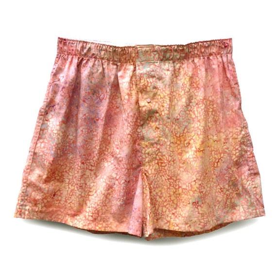Boxer Shorts for Ladies M - Soft Pink Dots handmade batik cotton (W/PP-002)