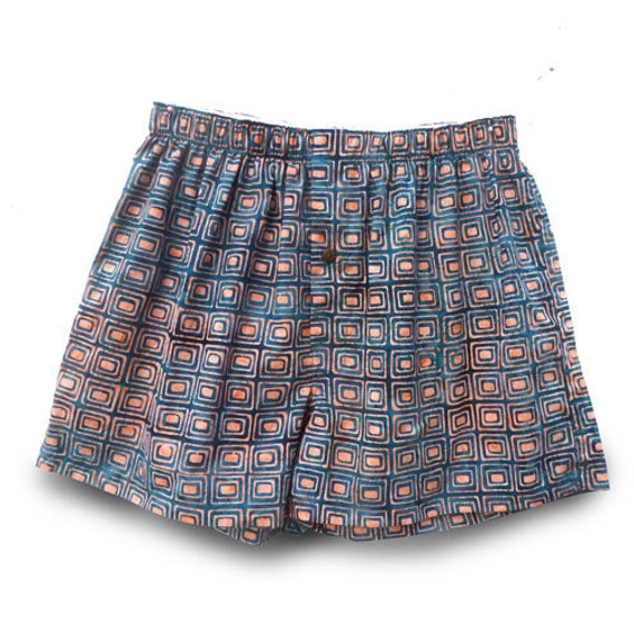 Boxer Shorts size M - 100% cotton handmade batik, Coral and Blue (M/BL-009)