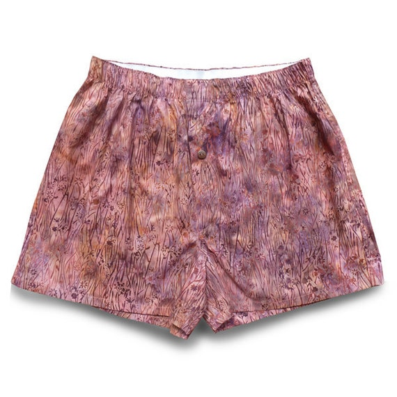 WOMENS MEDIUM boxer shorts, Orchid Wild Flowers, batik cotton - W/PK-003