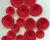 Lot of 16 Red Rose Handmade Spiral Paper Flowers
