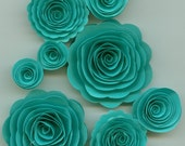 Tiffany Blue Handmade Spiral Rose Paper Flowers