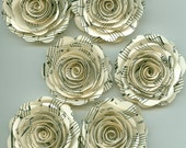 Music Sheet Handmade Large Spiral Paper Flowers
