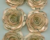 Antique Music Sheet Handmade Large Spiral Paper Flowers