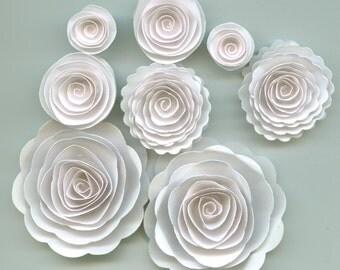Pure Wedding White Handmade Rose Spiral Paper Flowers