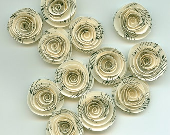 Music Sheet Handmade Spiral Paper Flowers