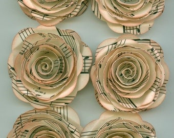 Antique Music Sheet Handmade Large Spiral Paper Flowers