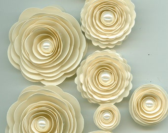 Pearl Sand Ivory Rose Spiral Paper Flowers for Weddings, Bouquets, Events and Crafts