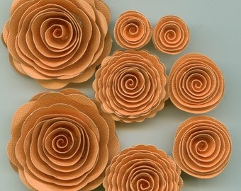 Mandarin Orange Handmade Spiral Paper Flowers