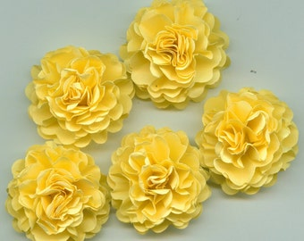 Bright Pastel Yellow Carnation Paper Flowers Embellishments