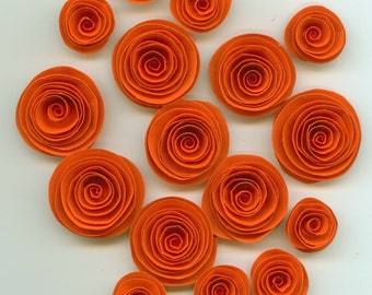 Orange Handmade Spiral Paper Flowers