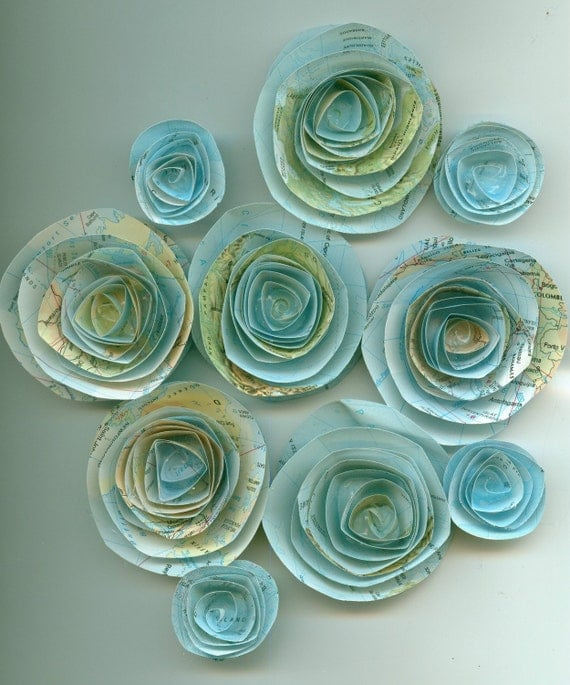 Travel Handmade Spiral Paper Flowers LARGE SIZE