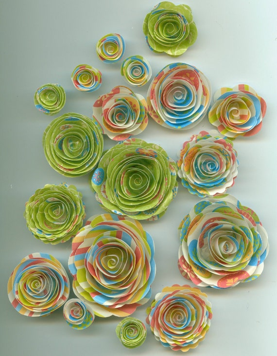 Bright Spiral Paper Flowers in Lime Green, Yellow, Blue and Pink