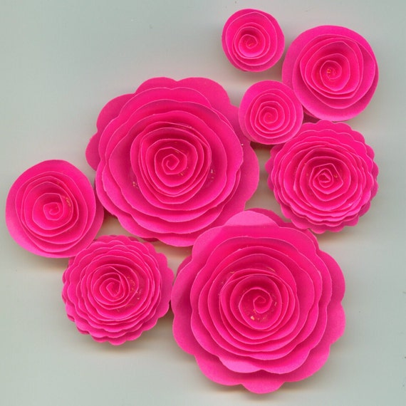 Bright Hot Pink Spiral Rose Paper Flowers