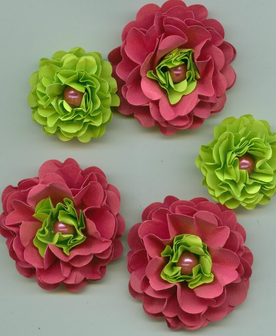 Dark Pink and Lime Green Pearl Peony Paper Flowers