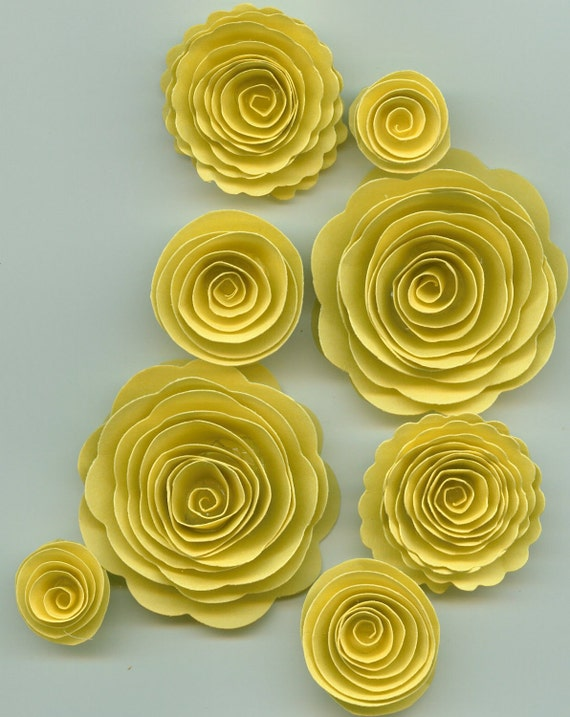 Pastel Yellow Rose Spiral Paper Flowers for Weddings, Bouquets, Events and Crafts