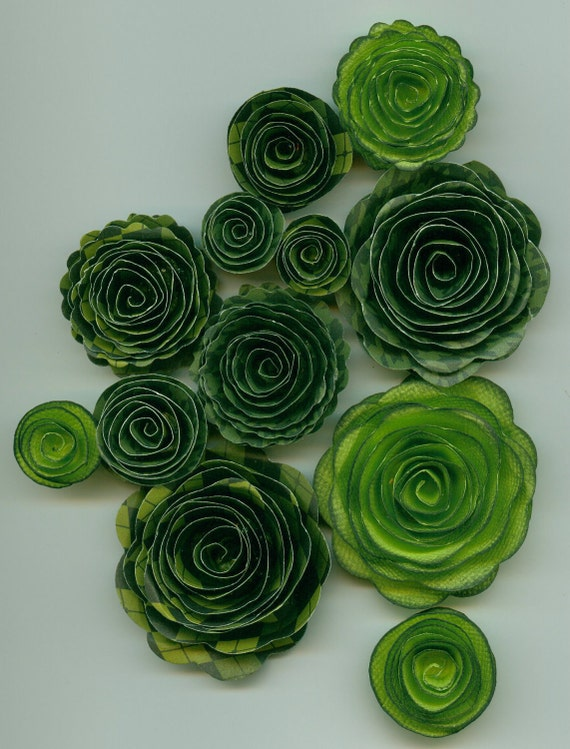 St Patrick's Day Green Inked Handmade Spiral Rose Paper Flowers