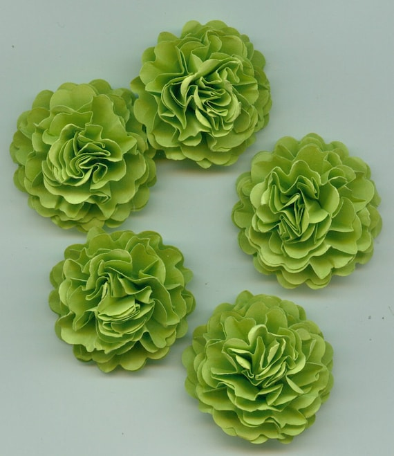Green Apple Mini Carnation Paper Flower Embellishments
