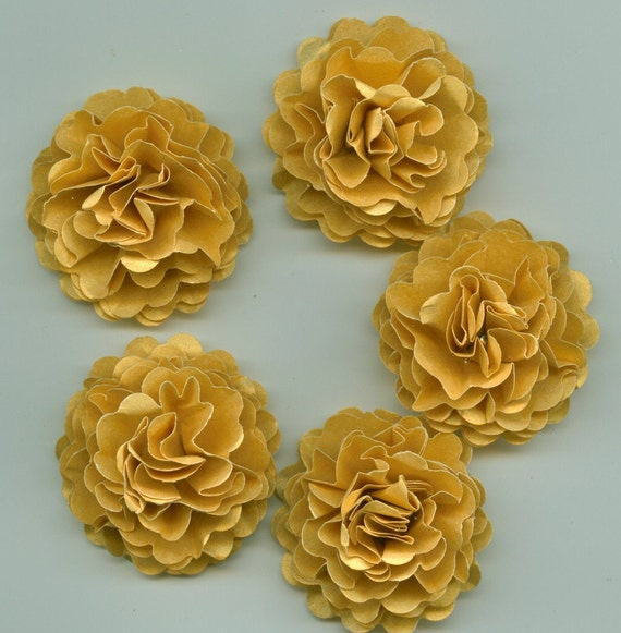 Mini Gold Wedding Carnation Paper Flowers for Wedding Decorations or Engagement