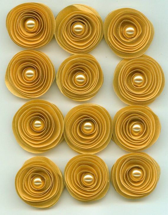 Gold Spiral Paper Flowers with Gold Pearl
