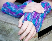 Arm Warmers / Fingerless Gloves - in JEWEL TONES.  bright and colorful.  ready to ship.