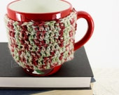 ON SALE -- Mug / Cup Cozy - in BARREL OF APPLES.  (Perfect for coffe, tea, cider, and other hot beverages).  ready to ship.