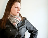 Long and Wide Scarf - in RED WHITE AND GREY. ready to ship.