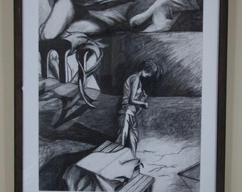 """Origianl Charcoal Drawing """"Study Of Sorrow, Table, Arches and Beauty"""""""