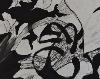 Untitled Abstract Charcoal Contrast and Line Original Drawing