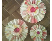 ON SALE THREE Paper Rosettes Fridge Magnets Pink Spring Floral Bouquet Handmade