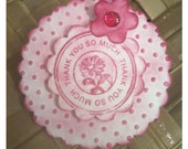 SIX Thank You Hand Stamp Embellished Pink Purple Daisy Round Handmade OOAK Tags