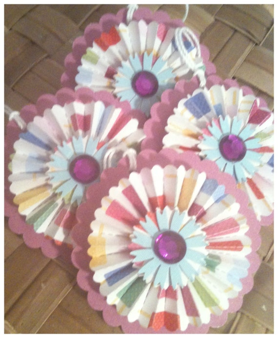 FOUR Paper Rosettes Purple Blue Carnival of Summer Colors Yellow Handmade All Occasion Gift Tags