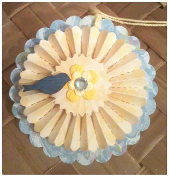 Handmade Paper Rosettes Bluebird Hello Sunshine Bright Yellow Sky Blue Summer BBQ Handmade All Occasion Gift Tags Set of 4