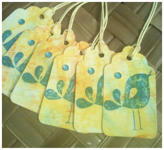 SIX Hand Stamped Yellow Orange Tropical Blue Tie Dye Golden Shimmer All Occasion Retro Songbird Gift Tags